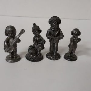 4 RB Riker Bartlett Hand Crafted Pewter Figurines